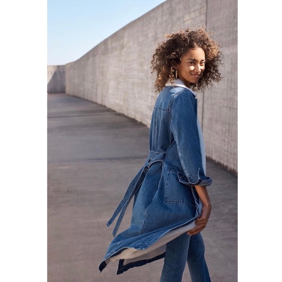 Madewell Jackets & Blazers - Madewell Denim Duster Coat: Sherpa Edition